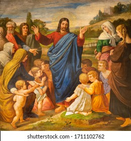 BARCELONA, SPAIN - MARCH 5, 2020: The painting of Jesus among the children in the church Esglesia De Santa Maria De Montalegre from 20. cent.
