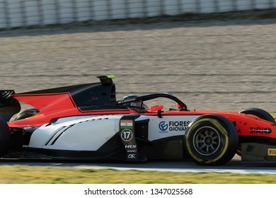 Barcelona, Spain - March 5th, 2019 -  Mahaveer Raghunathan from India with 17 MP Motorsport  - during day 1 of Fia F2 2019 Pre-Season Test at Circuit de Catalunya.