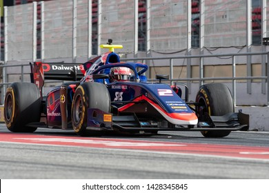 Barcelona, Spain. March 5th, 2019 -  Nobuharu Matsushita from Japan with 2 Carlin Racing - on track during day 1 of Fia F2 2019 Pre-Season Test at Circuit de Catalunya.