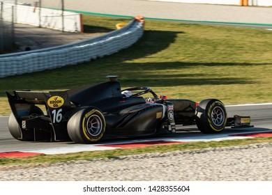 Barcelona, Spain, March 5th, 2019, Jordan KingFrom Great Britain with 16 MP Motorsport   - during day one of Fia F2 2019 Pre-Season Test at Circuit de Catalunya.