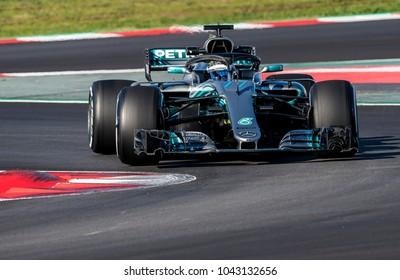 BARCELONA, SPAIN - MARCH 6, 2018: Valteri Bottas during Formula One Test Days at Circuit of Barcelona Catalunya.