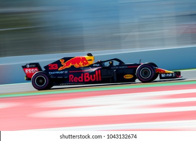BARCELONA, SPAIN - MARCH 6, 2018: Max Verstappen during Formula One Test Days at Circuit of Barcelona Catalunya.