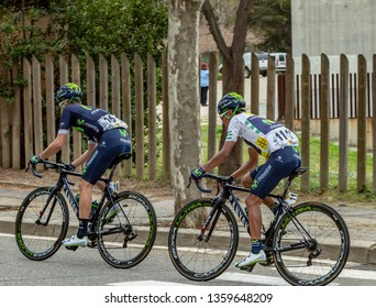 Barcelona, Spain - March27, 2016: Nairo Quintana and Javier Moreno Bazan of Movistar riding in the peloton during Volta Ciclista a Catalunya, on the top of Montjuic in Bracelona Spain,on March 27,2016