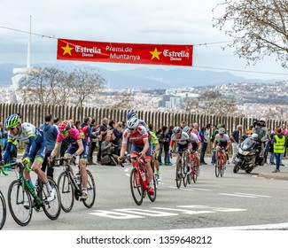 Barcelona, Spain - March27, 2016: The peloton riding during Volta Ciclista a Catalunya, on the top of Montjuic in Bracelona Spain, on March 27, 2016.