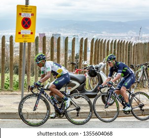 Barcelona, Spain - March27, 2016: The Quintana brothers riding in the peloton during Volta Ciclista a Catalunya, on the top of Montjuic in Bracelona Spain, on March 27, 2016.