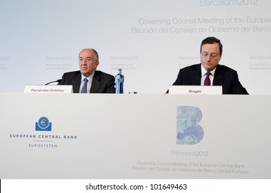 BARCELONA, SPAIN - MAY 03: ECB President Mario Draghi and Miguel Fern�¡ndez Ord�³�±ez at the press conference following the Governing Council meeting of the ECB on May 3rd 2012 in Barcelona, Spain