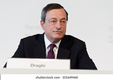 BARCELONA, SPAIN - MAY 03: European Central Bank President Mario Draghi chairs the press conference following the Governing Council meeting of the ECB on May 3rd 2012 in Barcelona, Spain