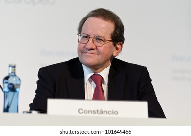 BARCELONA, SPAIN - MAY 03: European Central Bank Vice-President V�­tor Const�¢ncio chairs the press conference following the Governing Council meeting of the ECB on May 3rd 2012 in Barcelona, Spain