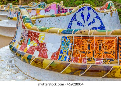 BARCELONA, SPAIN - MAY 06, 2016: Main Terrace at Parc Guell in Barcelona, Spain. Serpentine seating with mosaic designed by Antoni Gaudi.