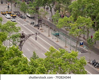 BARCELONA, SPAIN - May 07, 2016: View at the streets from the roof of Casa Mila, or La Pedrera, designed by Antonio Gaudi
