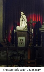 BARCELONA, SPAIN - MAY 10, 2017: It is a statue of the Madonna in the main altar of the Church of the Mother of God of Bethlehem.