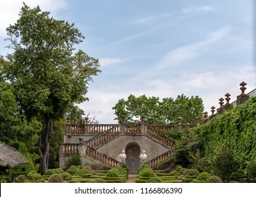 Barcelona, Spain - May 10, 2018: The Garden of the Boixos in Labyrinth Park of Horta. The staircase with two busts in the background leads to the Desvalls Palace.