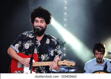 BARCELONA, SPAIN - MAY 11: Manos de Topo band performs at Maremagnum on May 11, 2012 in Barcelona, Spain. La Placa Odissea Festival.