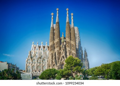 BARCELONA, SPAIN -MAY 11: Sagrada Familia on MAY 11, 2018: La Sagrada Familia - the impressive cathedral designed by architect Gaudi, which is being build since March 19, 1882 and is not finished.