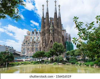 BARCELONA, SPAIN - MAY 12: Sagrada Familia on May 12, 2013 in Barcelona, Spain. The impressive cathedral designed by Antoni Gaudi is being built since 1882 and is not finished yet