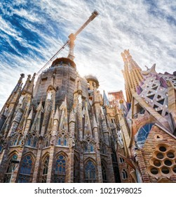 BARCELONA, SPAIN - MAY 13, 2017: Architectural details and sculptures of one of the sides of the Sagrada Familia Temple.