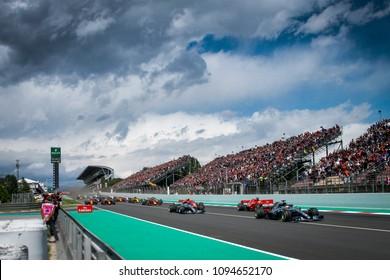 Barcelona, Spain. May 13, 2018. Grand Prix of Spain. F1 World Championship 2018. Start of the race with Lewis Hamilton leading Valtteri Bottas, Sebastian Vettel and Kimi Raikkonen.