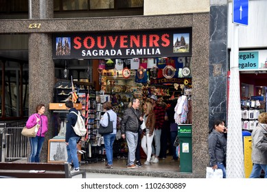 Barcelona, Spain - May 13, 2018:  Shop selling souvenirs across from the Sagrada Familia, the magnificent Roman Catholic church that is a UNESCO World Heritage Site.