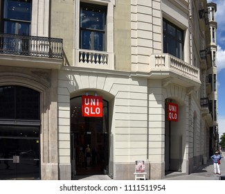 Barcelona, Spain - May 13, 2018:  Uniqlo, the Japanese casual wear designer, manufacturer and retailer, store on Passeig de Gràcia, a high end shopping area.