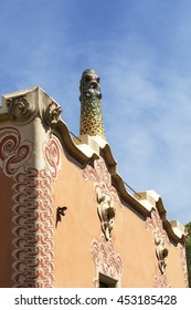 BARCELONA , SPAIN - MAY 13,2016 :Decorative facade  on Gaudi House Museum with mosaic chimney .Building  located near the Park Guell  in Barcelona was the residence of Antoni Gaudi  from 1906 to 1925