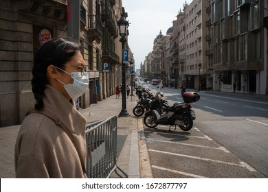 BARCELONA, SPAIN- May 14: First day of state of emergency and lockdown in Barcelona during coronavirus crisis. May 14 th, 2020 Barcelona, Spain