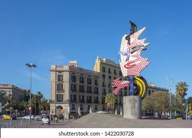 BARCELONA, SPAIN. May 14-2019: Sculpture Barcelona Face by Roy Lichtenstein