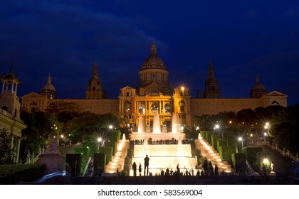 BARCELONA, SPAIN, MAY 15, 2016 - MNAC National art museum and fountain in Plaza de Espana at night