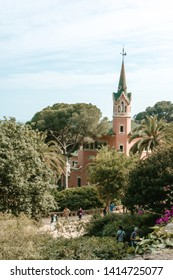 BARCELONA, SPAIN. May 15-2019: Park Guell by architect Gaudi in a summer day.