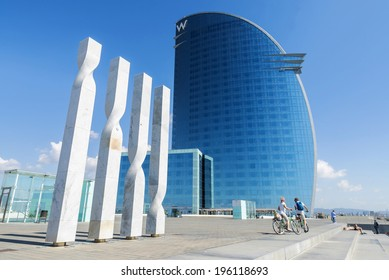 Barcelona, Spain - May 16, 2014: Low wide angle view of the W Barcelona Hotel, designed by Architect Ricardo Bofill