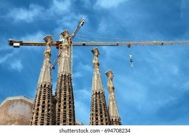 BARCELONA, SPAIN - MAY 16, 2015; Construction work at basilica Sagrada Familia