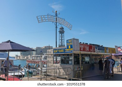 BARCELONA, SPAIN - MAY 16, 2017: ticket place for the Golondrinas cruising boat at Barcelona port, Spain. Golondrinas leave from Drassanes Dock, at the end of Las Ramblas, in front Columbus monument