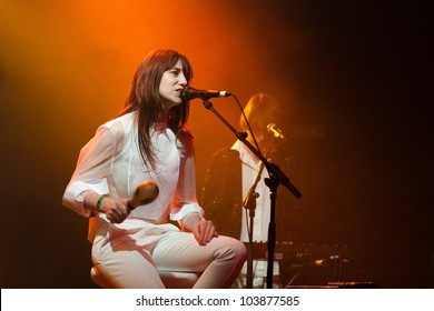 BARCELONA, SPAIN - MAY 16: Charlotte Gainsbourg performs at Razzmatazz on May 16, 2012 in Barcelona, Spain. She is the daughter of Serge Gainsbourg and appears in a film with Johnny Depp.