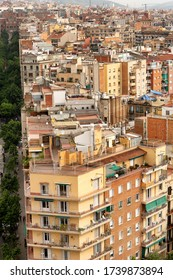 Barcelona, Spain, May 18, 2017: View over apartments and other buildings in the centre of Barcelona, city on the coast of northeastern Spain and second most populous municipality in Spain