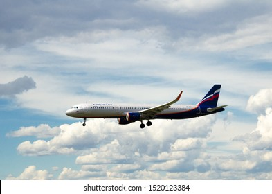 Barcelona, Spain - May 18, 2019: Airbus A-321 of Aeroflot (Russian Airlines), landing at Prat Airport in Barcelona