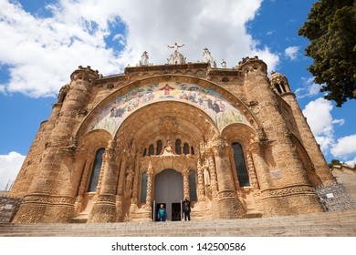 BARCELONA, SPAIN - MAY 18: Temple Expiatori del Sagrat Cor in May 18, 2013 in Barcelona, Spain.  The construction of the temple dedicated to the Sacred Heart, lasted from 1902 to 1961