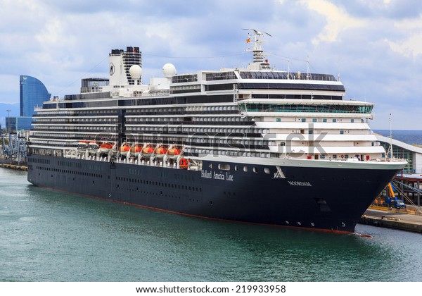 BARCELONA SPAIN - MAY 19 2014:The Noordam (Holland America) at port and ready to sail for the Mediterranean,with capacity of 2044 passengers. It was christened in New York by actress Marlee Matlin.