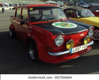 Barcelona, Spain; May 19, 2018: Classic little car in asphalt rally. Simca 1000 Rallye