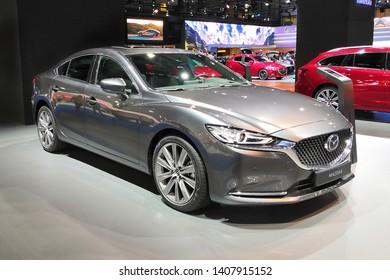 Barcelona, Spain - May 19, 2019: Mazda 6 Sedan at Automobile Barcelona 2019.