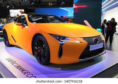 Barcelona, Spain - May 19, 2019: Lexus LC 500h Matte Prototype at Automobile Barcelona 2019.