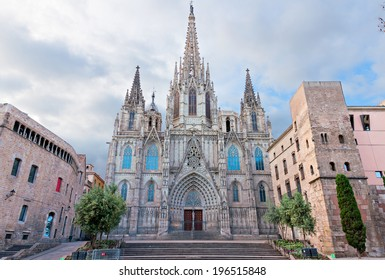 BARCELONA, SPAIN - MAY 2: Barcelona Cathedral on May 2, 2014 in Barcelona. Barcelona Cathedral was constructed from the 13th to 15th centuries in Gothic style.