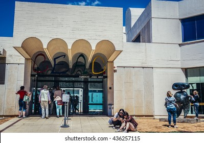 Barcelona, Spain - May 22, 2015. Tourists in front of Art museum of Joan Miro Foundation in Barcelona