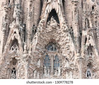 BARCELONA, SPAIN - MAY 22, 2018: Cathedral of Sagrada Familia. Antonio Gaudi project. Photo of details.
