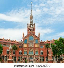 BARCELONA, SPAIN - MAY 22, 2018: Hospital San Pau in Barcelona, Spain. Modern architecture style