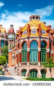 BARCELONA, SPAIN - MAY 22, 2018: Pavilion of Hospital San Pau in Barcelona, Spain. Modern architecture style