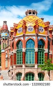 BARCELONA, SPAIN - MAY 22, 2018:Pavilion of Hospital San Pau in Barcelona, Spain. Modern architecture style