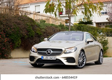 Barcelona, Spain May 23, 2017 : Mercedes-Benz E-Class Coupe 2017 Test Drive Day May 23 2017 in Barcelona.
