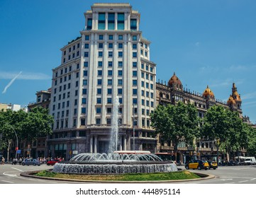 Barcelona, Spain - May 26, 2015. View of Zara building located at Passeig de Gracia, one of the major avenues in Barcelona