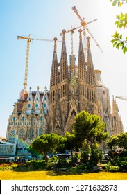 BARCELONA, SPAIN - MAY 27, 2016: La Sagrada Familia. The impressive cathedral designed by Gaudi, which is being build since 19 March 1882 and is not finished yet.