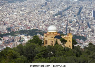 Barcelona, Spain - May 27, 2016: Aerial view from Tibidabo mountain in Barcelona