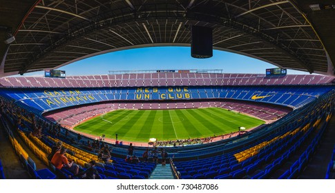 BARCELONA, SPAIN - MAY 27, 2017: CAMP NOU. Panoramic view of the Camp Nou. The stadium of Football Club Barcelona team.
